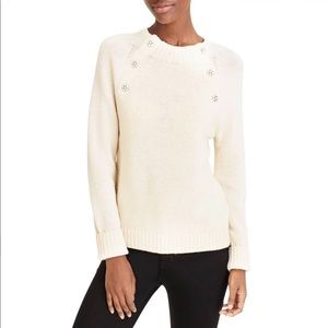 J.CREW Cream Knit Jeweled Button Crew Neck Sweater